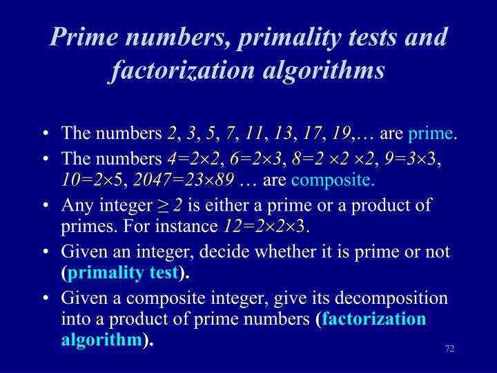 Prime numbers, primality tests and factorization algorithms