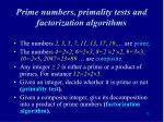 prime numbers primality tests and factorization algorithms