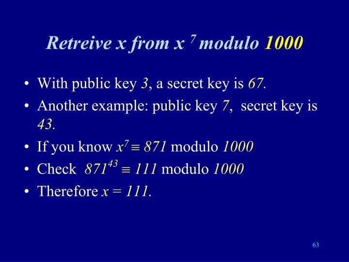 Retreive x from x