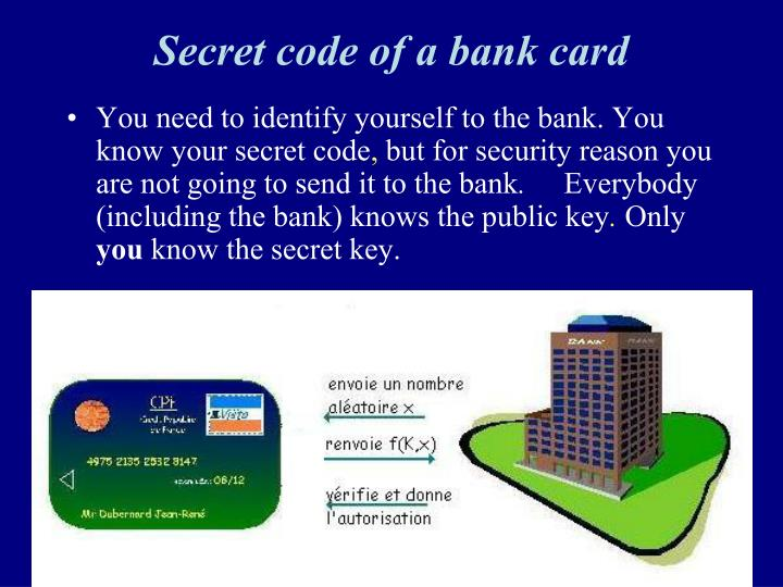 Secret code of a bank card