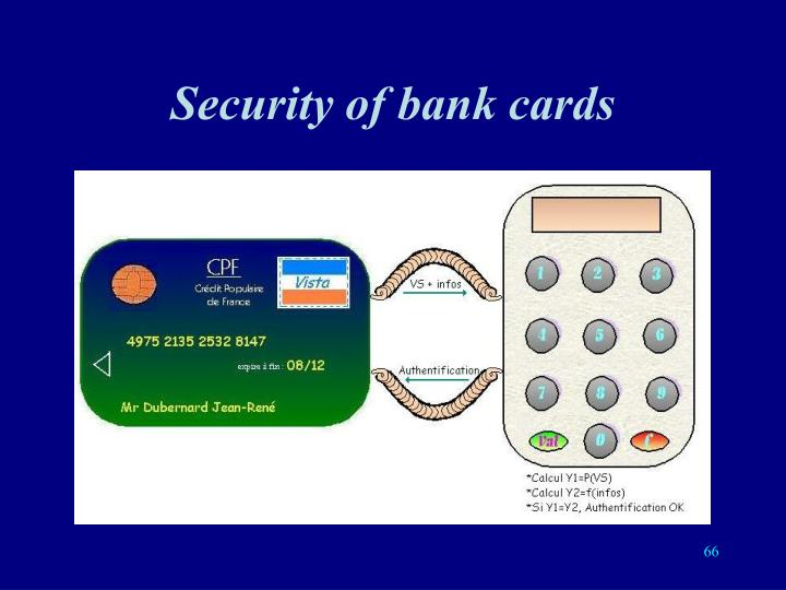 Security of bank cards