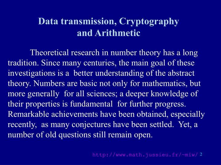 Data transmission, Cryptography