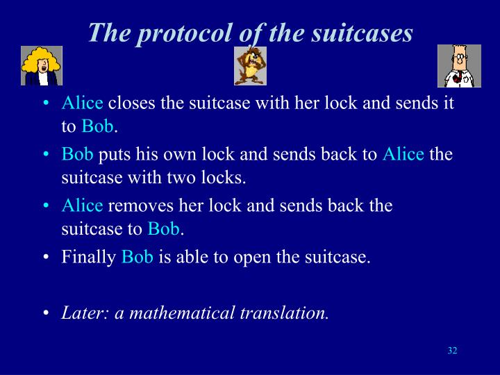 The protocol of the suitcases