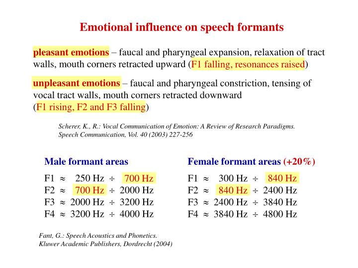 Emotional influence on speech formants
