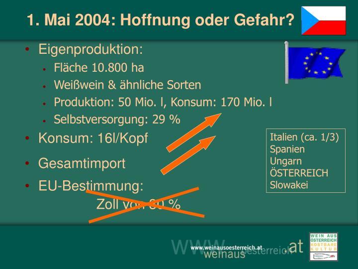 1. Mai 2004: Hoffnung oder Gefahr?