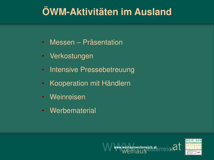 ÖWM-Aktivitäten im Ausland
