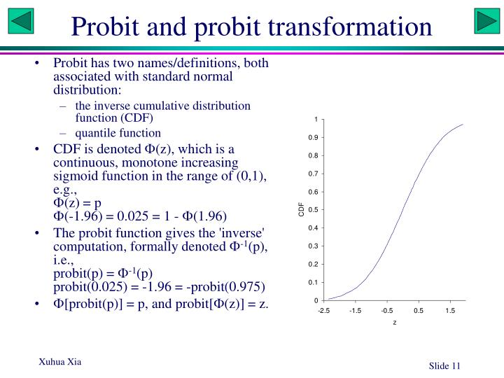 Probit and probit transformation
