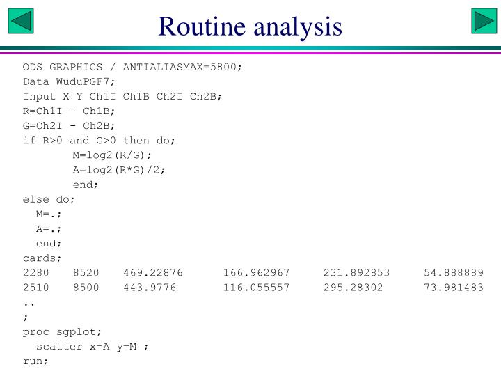 Routine analysis