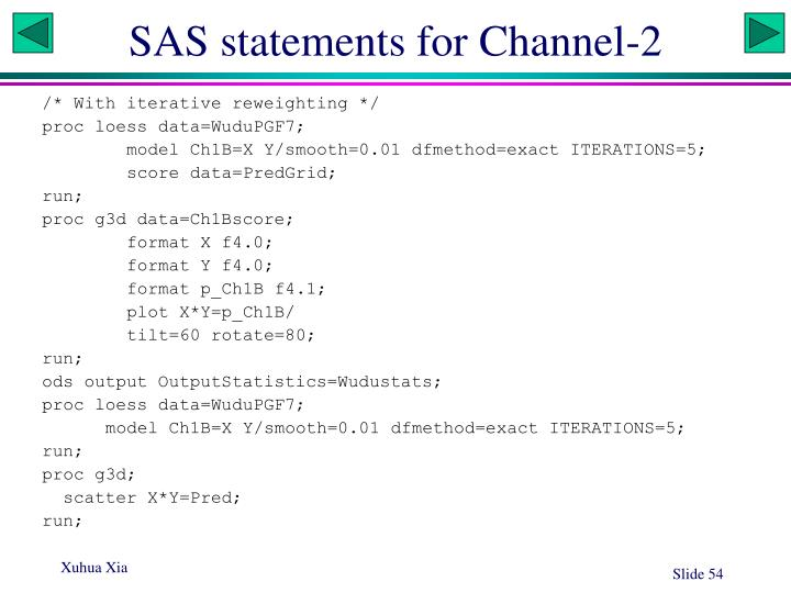 SAS statements for Channel-2