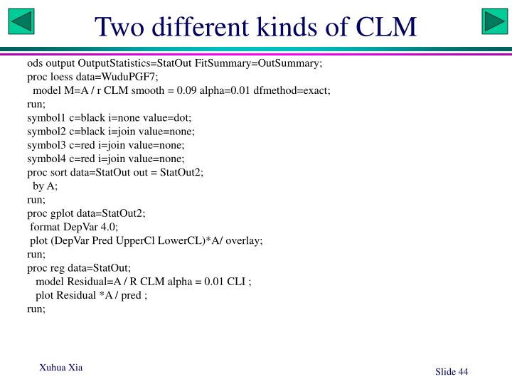 Two different kinds of CLM