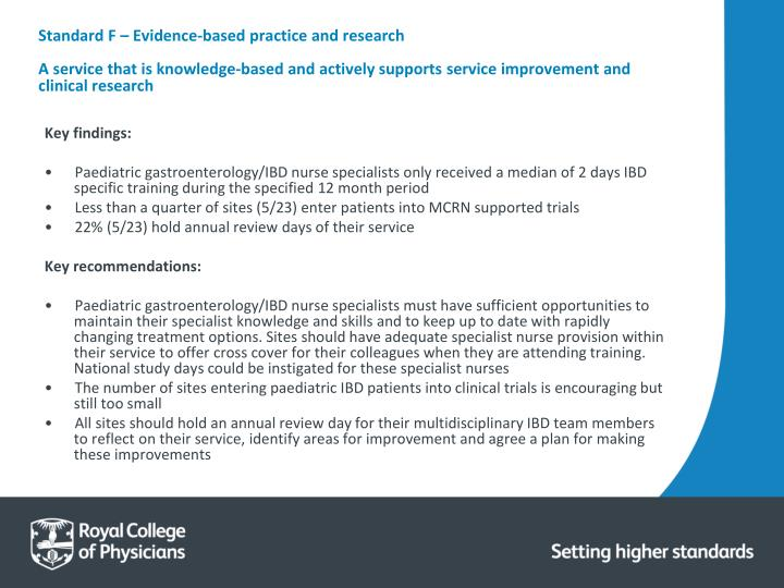 Standard F – Evidence‐based practice and research