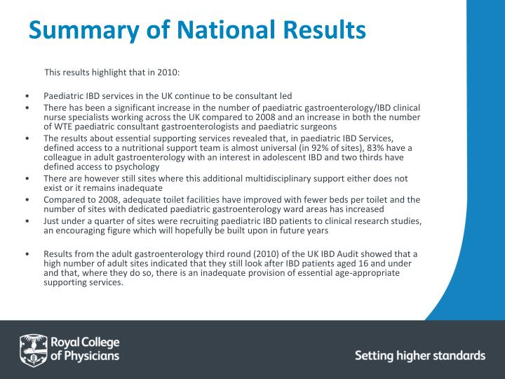 Summary of National Results