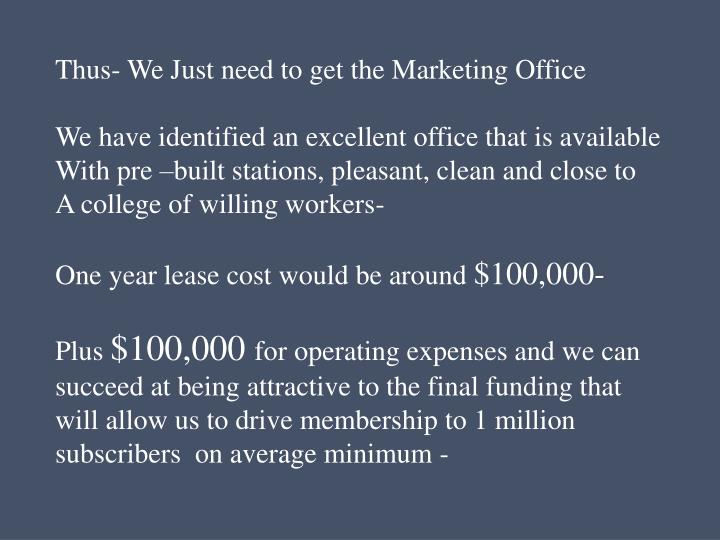 Thus- We Just need to get the Marketing Office