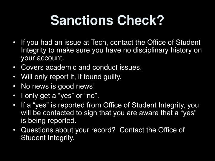 Sanctions Check?
