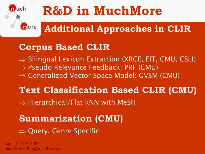 R&D in MuchMore
