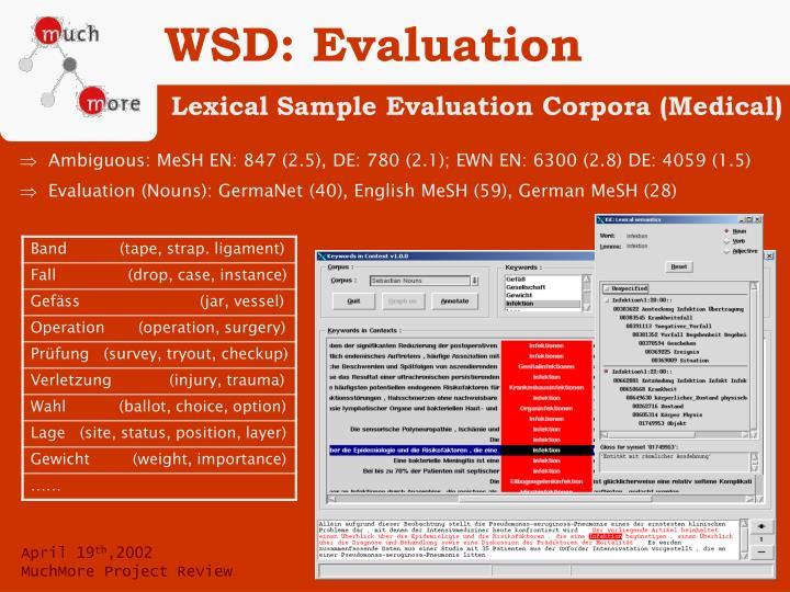 WSD: Evaluation