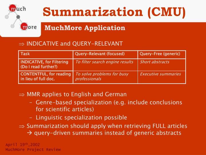 Summarization (CMU)