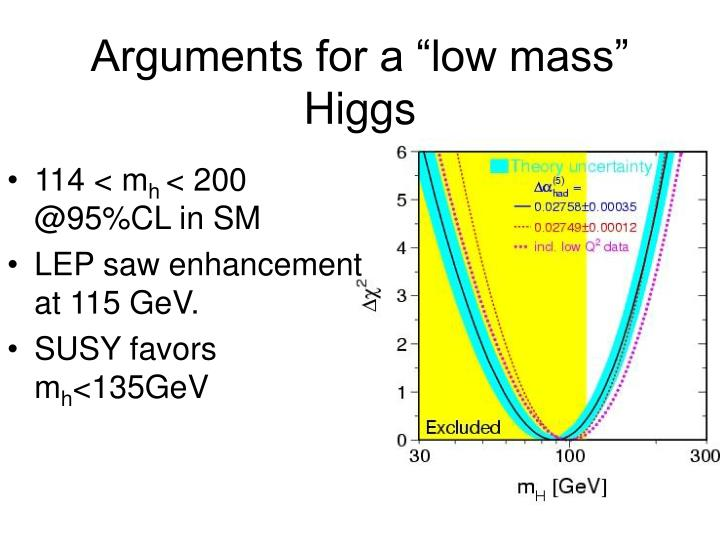 """Arguments for a """"low mass"""" Higgs"""