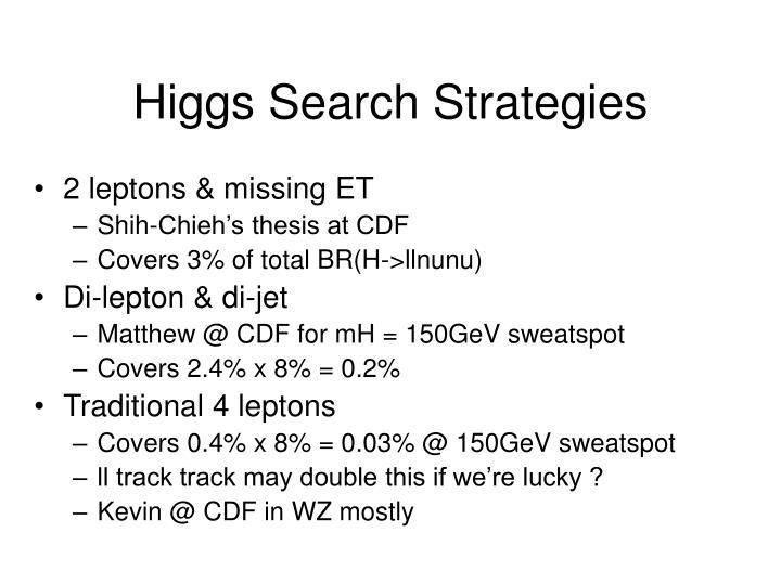 Higgs Search Strategies
