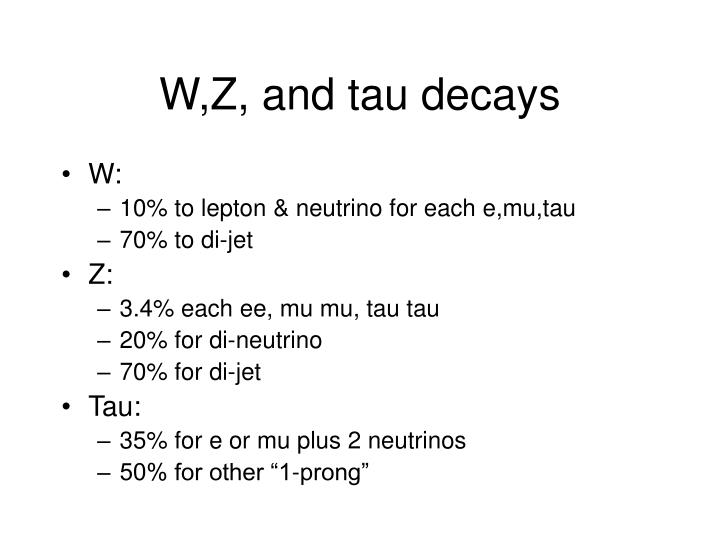 W,Z, and tau decays