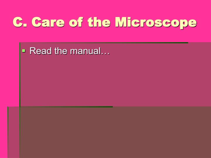 C. Care of the Microscope