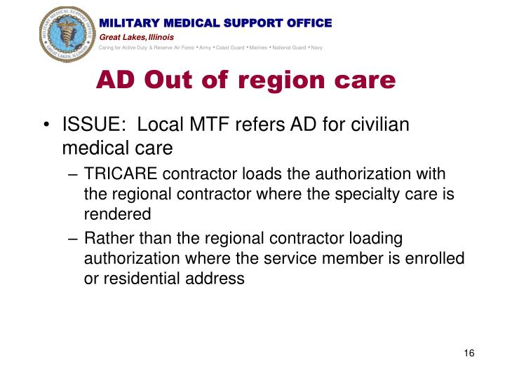 AD Out of region care