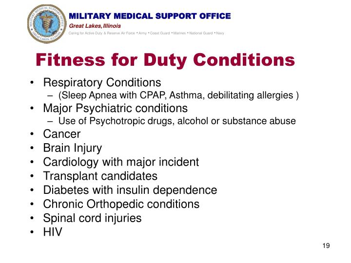Fitness for Duty Conditions