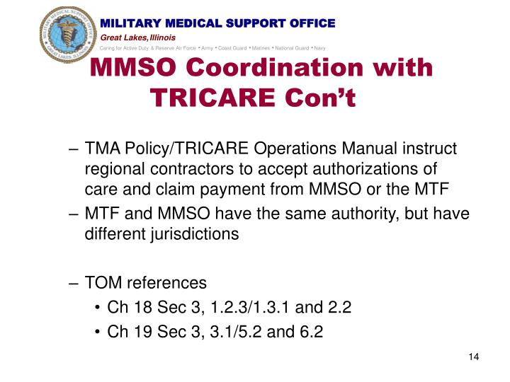 MMSO Coordination with TRICARE Con't