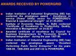 awards received by powergrid1