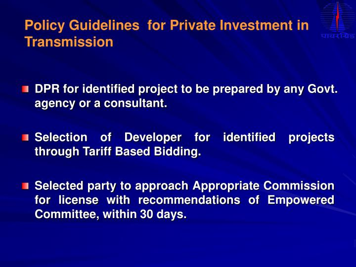 Policy Guidelines  for Private Investment in Transmission