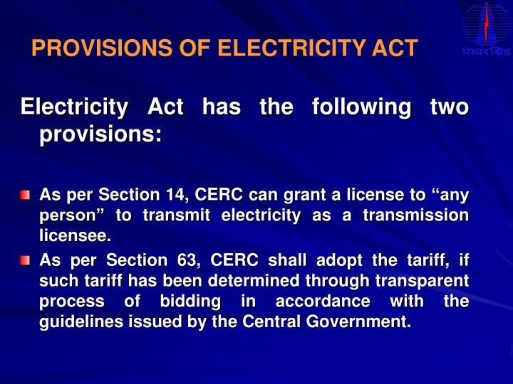 PROVISIONS OF ELECTRICITY ACT