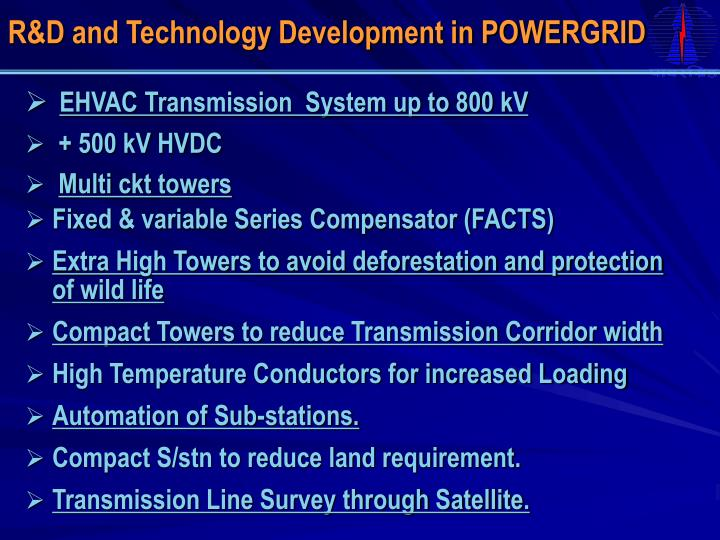 R&D and Technology Development in POWERGRID