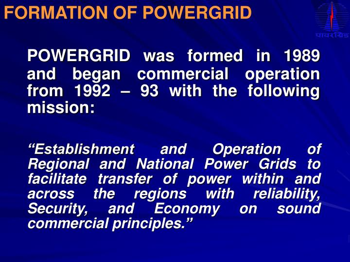 FORMATION OF POWERGRID