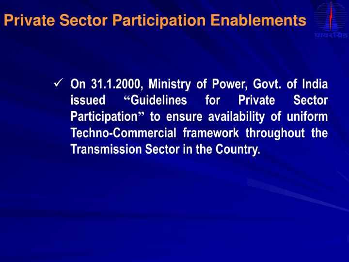 Private Sector Participation Enablements