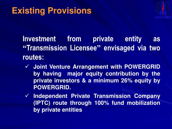 Existing Provisions