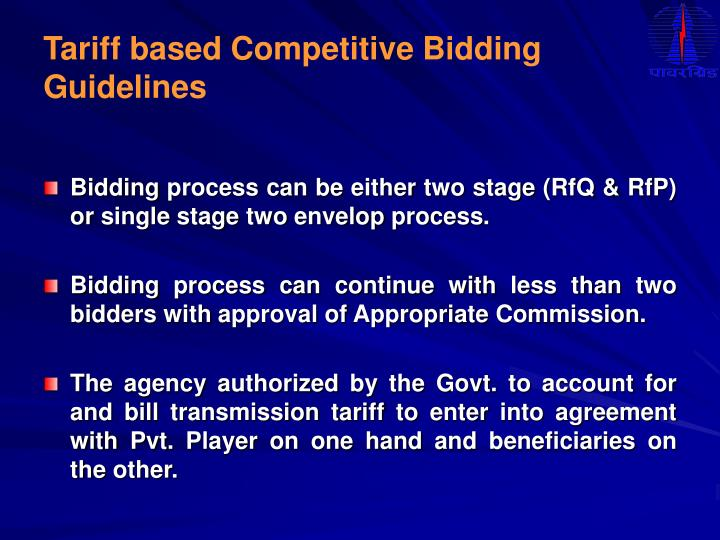 Tariff based Competitive Bidding Guidelines