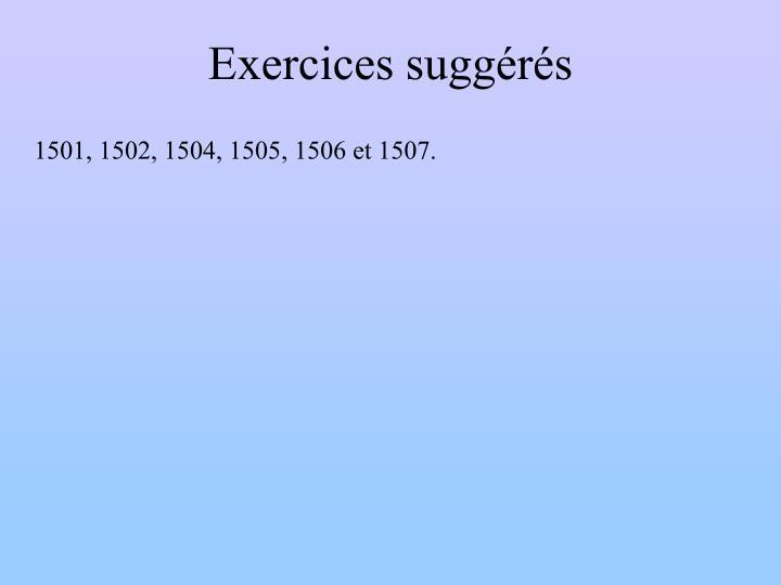 Exercices suggérés