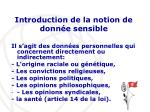 introduction de la notion de donn e sensible
