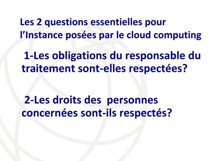 Les 2 questions essentielles pour  l'Instance posées par le cloud computing