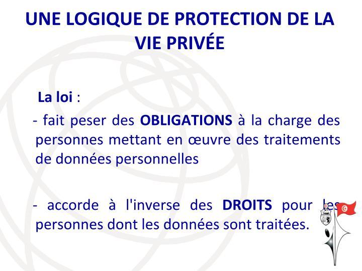 UNE LOGIQUE DE PROTECTION DE LA VIE PRIVÉE