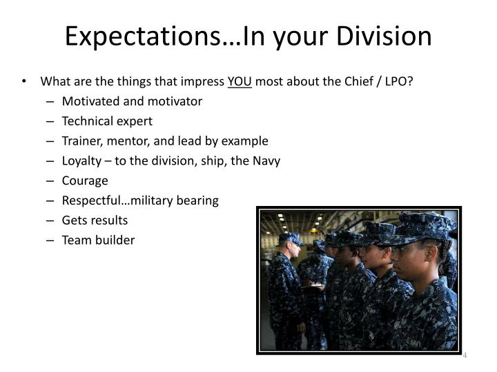 Expectations…In your Division