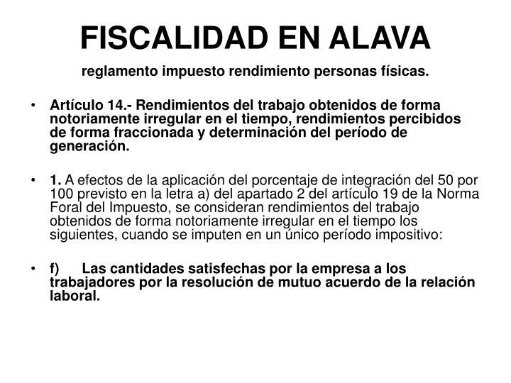 FISCALIDAD EN ALAVA