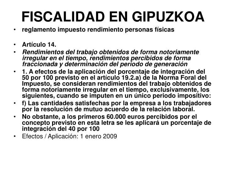 FISCALIDAD EN GIPUZKOA