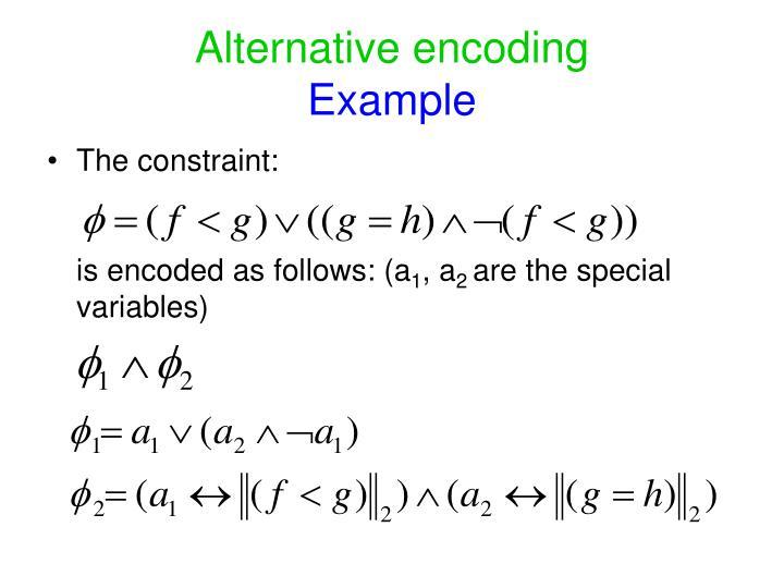 Alternative encoding