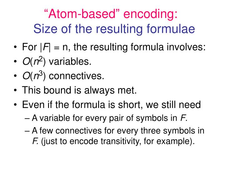 """""""Atom-based"""" encoding:"""