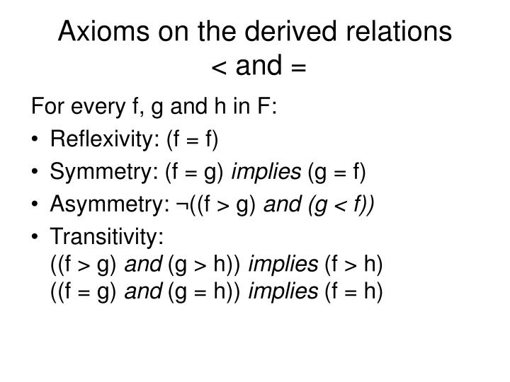 Axioms on the derived relations