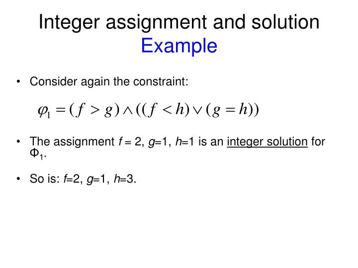 Integer assignment and solution
