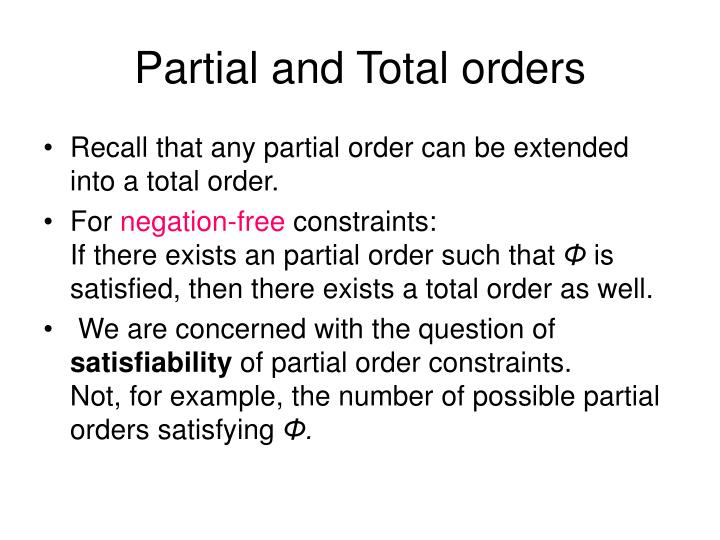 Partial and Total orders