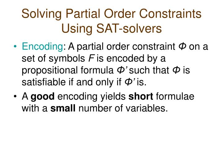 Solving Partial Order Constraints