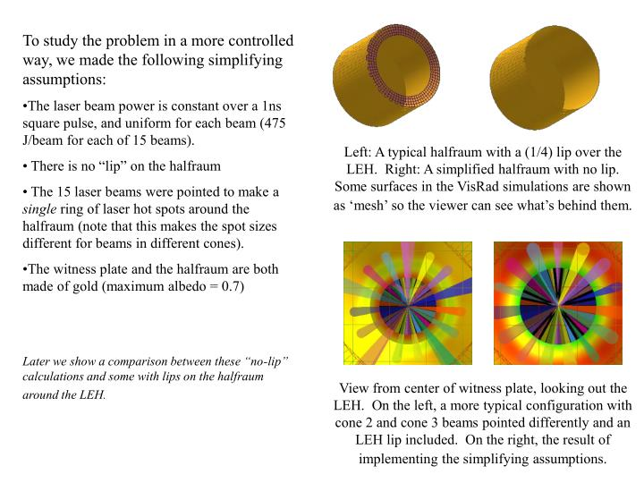 To study the problem in a more controlled way, we made the following simplifying assumptions: